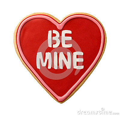 Free Be Mine Heart Shaped Valentine Cookie Royalty Free Stock Photo - 65615755