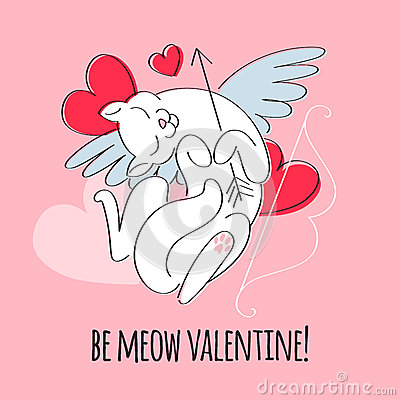 Free Be My Valentine - Cupid Cat Illustration. Stock Images - 84783784