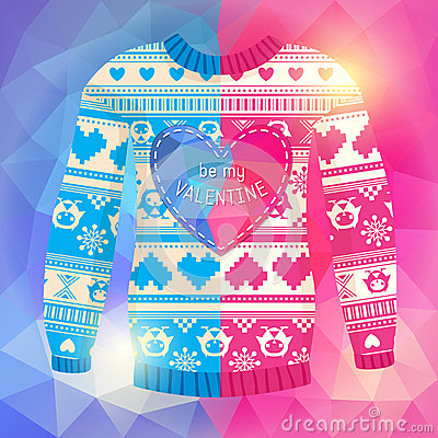 Free  Be My Valentine  Greeting Card. Warm Sweater With Owls And Hear Royalty Free Stock Photo - 37431935