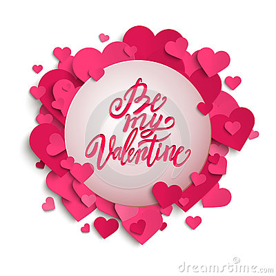 Free Be My Valentine Handwritten Brush Pen Lettering On Banner With Pink Hearts, Valentine&x27;s Day,  Royalty Free Stock Image - 66034016