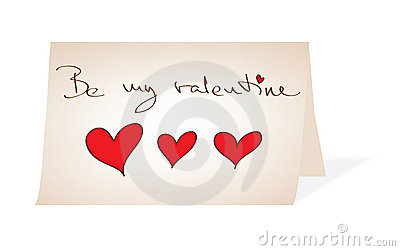 Be my valentine - handwritten paper message