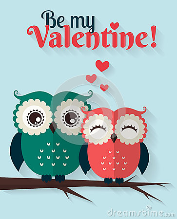 Free Be My Valentine! Vector Greeting Card With Flat Owls. Stock Photography - 49167442