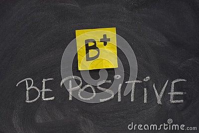 Be positive concept on blackboard