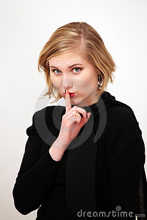 Free Be Quiet Sign By Girl Stock Photography - 17997512