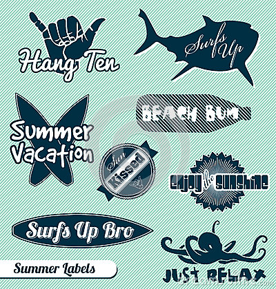 Free Beach And Surfing Labels And Stickers Royalty Free Stock Photo - 27084125