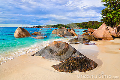 Beach Anse Lazio at Seychelles