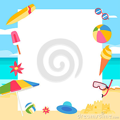 Free Beach Background. Summer Concept With Cartoon Elements Stock Image - 98067311