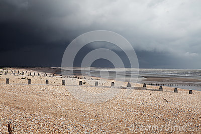 Beach bad weather coast winchelsea england
