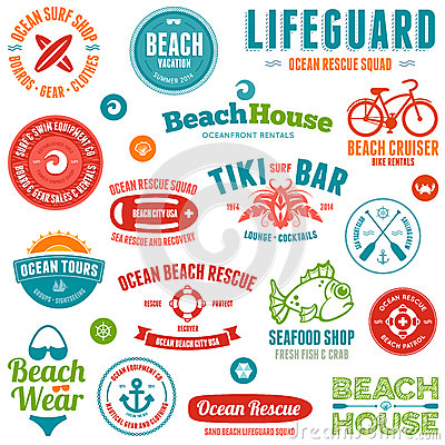 Free Beach Badges And Emblems Royalty Free Stock Image - 26472146