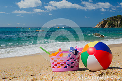Beach bag and ball