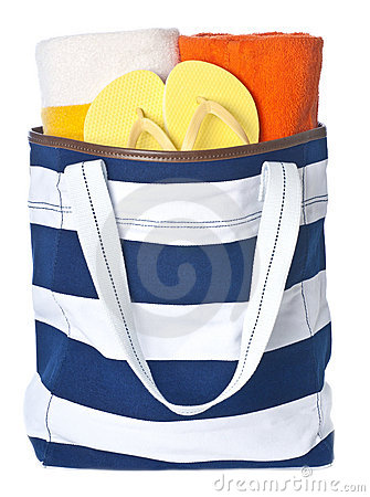Beach Bag and Colorful Towels