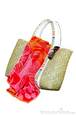 Beach Bag, Towel, Sunglasses, Isolated Royalty Free Stock Image - Image: 2609766