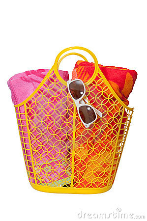 Beach Bag, Towels, and Sunglasses