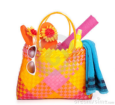 Beach bag on white background