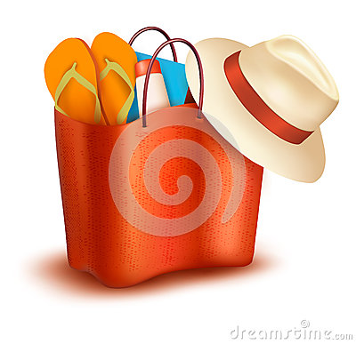 Free Beach Bag With Swimming Suit. Royalty Free Stock Photography - 37987747