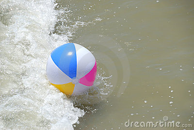 Beach ball in surf