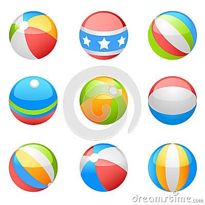 Beach ball vector set