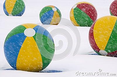 Beach Balls in Winter Snow