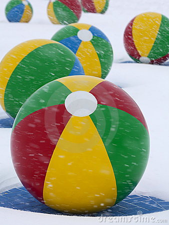 Beach Balls in Winter Snow