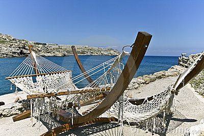 Beach bar at Rhodes island, Greece