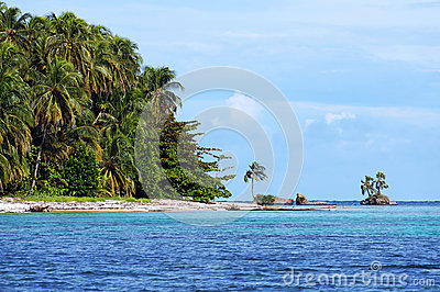 Beach with beautiful vegetation in Panama
