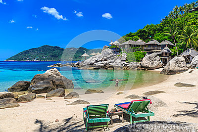 Beach bed on white sand beach at tropical island