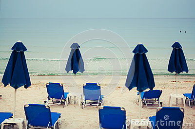 Beach beds and umbrellas