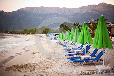 Beach beds and umbrellas in Thassos