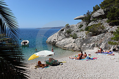 Beach in Brela, Croatia Editorial Photography