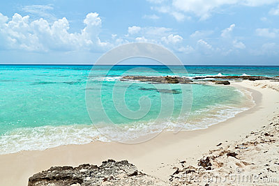 Beach of the Caribbean Sea in Mexico