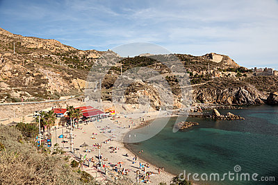 Beach in Cartagena, Spain Editorial Stock Photo