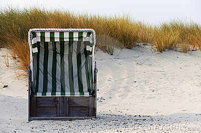 Beach chair in the autumn