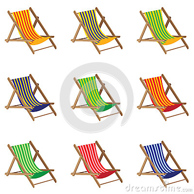 Free Beach Chair. Colorful Beach Chair  On White Background. Wooden Furniture. Stock Photos - 73519633