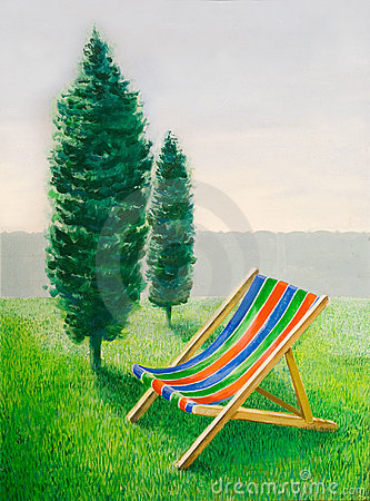 Beach chair in landscape