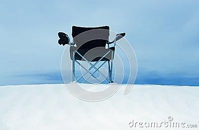 Beach chair on sand dune