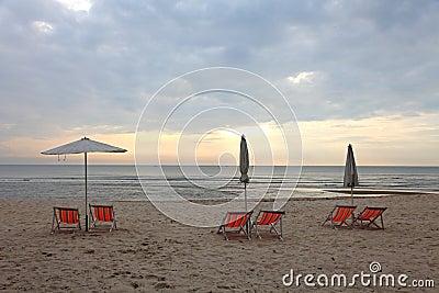 Beach chair and sea