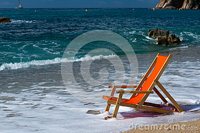Beach chair in the sea