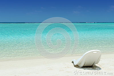 Beach chair on a tropical beach