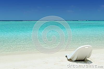 Beach chair on a tropical beach