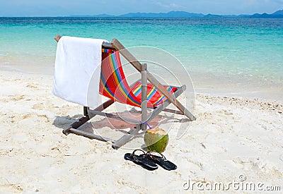 Beach chair on tropical summer beach