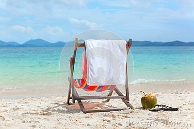 Beach chair on tropical summer beach