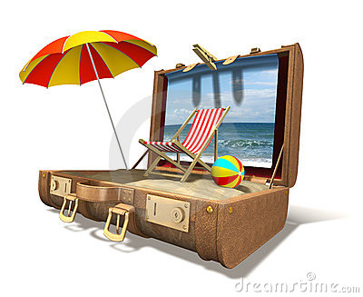 Beach chair, umbrella and sand in big suitcase