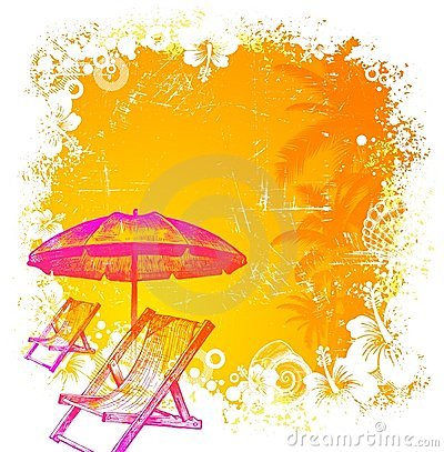 Beach chair and umbrella on a tropical background