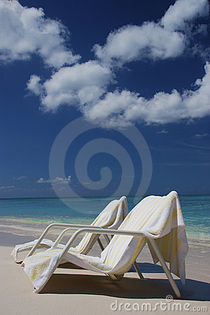 Free Beach Chairs At Cayman Island Stock Photo - 5137630