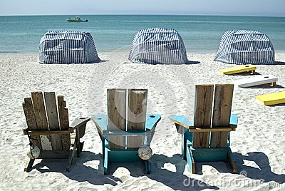 Beach chairs and cabanas
