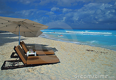Beach and chairs in Cancun, Mexico