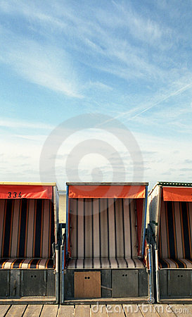 Free Beach-chairs In Front Of The Sky Stock Images - 589854
