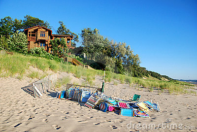 Beach Chairs on lake Michigan