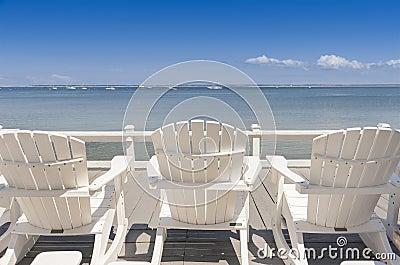 Beach chairs overlooking ocean