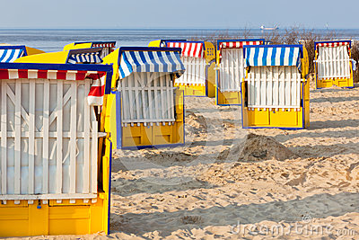 Beach chairs strandkorb in Northern Germany